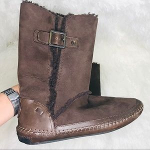 Tory Bruch boho buckle suede boots